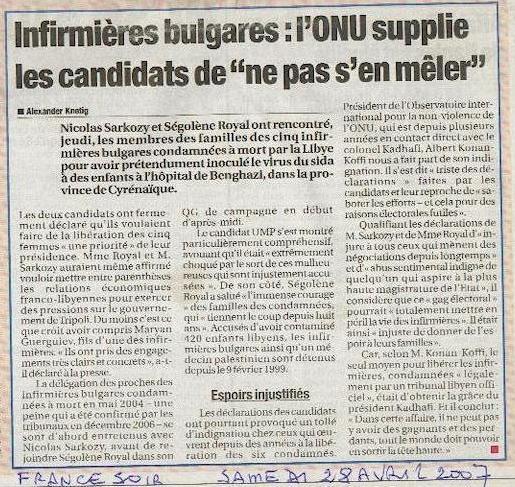 Article France Soir - samedi 28 avril 2007