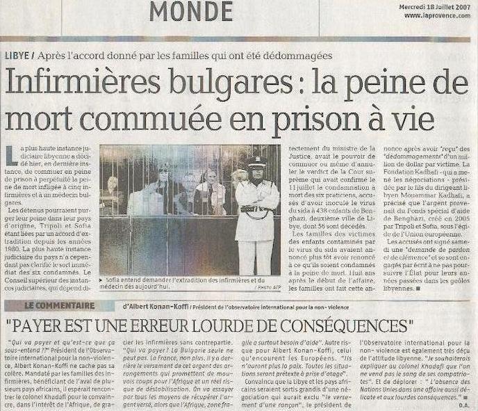 Article La Provence - mercredi 18 juillet 2007